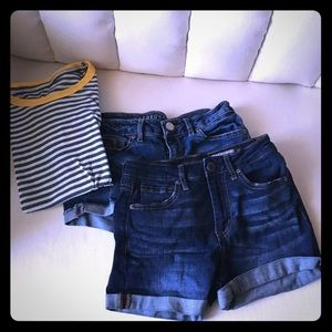 2 pairs of Aeropostale jean shorts and top